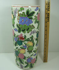 Vtg LARGE Hand Painted Oriental Ceramic DRAGONFLY FRUIT VASE UMBRELLA HOLDER 16""