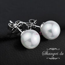 9K 9CT WHITE GOLD GF Womens 6MM ROUND Shell PEARL EARRINGS STUDS EX422 BRIDAL