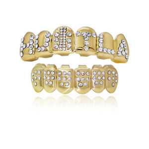 New Custom Fit Hip Hop Grills Top and Bottom Set Bright CZ Bling Teeth Grillz