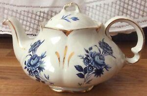 Vintage ELLGREAVE Ironstone Teapot Wood & Sons England Blue Floral W/Gold Trim
