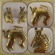 Vintage Mythical Monkey Stud Earring & Brooch Set By Laurel Burch