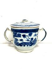 Antique Chinese White & Blue Hand Painted Double Handle Sugar Bowl w/ Lid