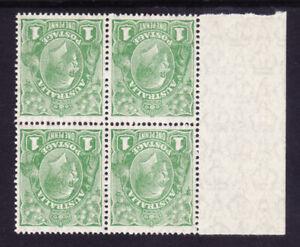 1d Green KGV SM Wmk, Block 4 perf 14 with LH selvedge MUH w/c inverted Wmk 80Ba