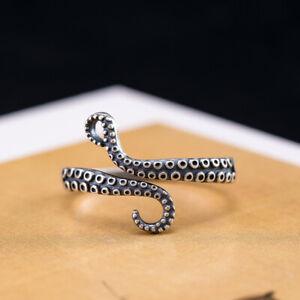 I04 Ring Tentakel mit Saugnäpfen Octopus Krake Silber 925 Gr. 18 verstellbar