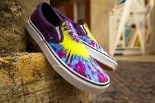 Vans Classic Slip On Tie Dye Mysterioso/True White Men's Skate Shoe Size 9