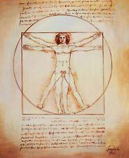 LEONARDO da Vinci-Studio delle proporzioni 50x60 cm riproduzione DIPINTO AD OLIO 5939