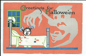 Halloween Postcard Girl Praying Kneeling by Bed Posted 1915