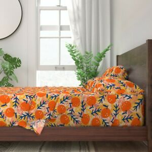 Blue Leaves Orange Fruit Abstract 100% Cotton Sateen Sheet Set by Spoonflower