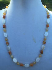 and White Mother of Pearl Shell Handmade Necklace of Yellow Agate, Rosa Marble,