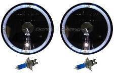"7"" inch Black Headlight White Halo Angel Eye Halogen H4 Light Bulb Headlamp Pair"