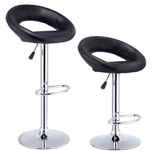 set of 2 bar stools adjustable pu leather barstools swivel pub chairs black new