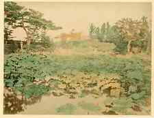 Japan, Japanesse Garden  Vintage albumen print.  Tirage albuminé aquarellé