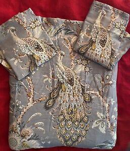 TAHARI HOME Lilac Peacock Jacobean Floral 100% Cotton King 3 pc Duvet Cover Set