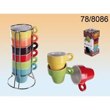 Set Of 6 Espresso Coffee Tea Mugs With Stand Latte Ceramic Cup Kitchen Gift  NEW