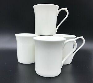 Set of 4 Plain White Bone China Devon Shape Tea/Coffee Mugs