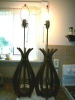 Set of 2 Vintage Mid Century Modern Danish Wood Table Lamps