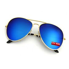 AVIATOR PILOT Gradient Polarized Mens Ladies Vintage Retro Sunglasses Gold Blue