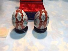 Yi Lin Arts And Treasures Of China Porcelain Painted Eggs ,Blue Case With Stands