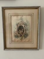 ANTIQUE SILK WORK EMBROIDERY PICTURE FRAMED Glassed France 11x13 and 6x7.8 Inch