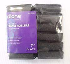 """Diane Soft Foam Cushion Hair Rollers Curlers Medium 12-Pieces 3/4"""" Black D1918B"""