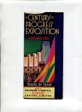 Vintage Brochure CENTURY OF PROGRESS TRAVEL BY TRAIN B&O RR 1933 Chicago