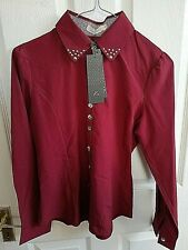 ANSELF WOMENS RED MAROON BLOUSE SHIRT SIZE 8 SMALL STUDS PIT TO PIT 17 RRP £20