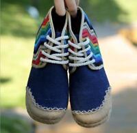 Women's Lace Up National Retro Round Toe Linen Y9 Match Color Flat Comfort Shoes