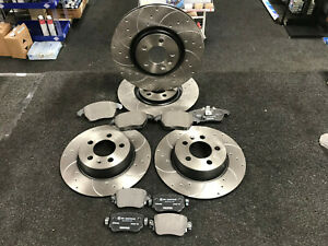 FOR AUDI A1 S1 QUATTRO FRONT REAR DRILLED GROOVED BRAKE DISCS AND MINTEX PADS