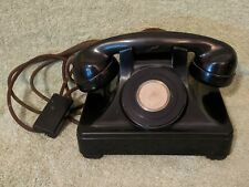 Vtg North Electric Black Straight Line Ringer Telephone No Rotary Dial