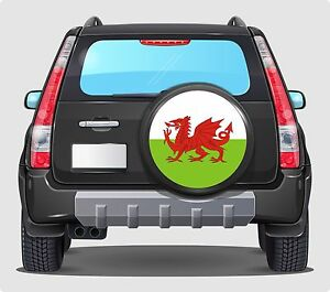Spare Wheel Cover 4x4 Graphic Sticker WELSH FLAG  WALES 550MM Y Ddraig Goch