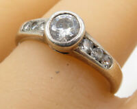 925 Sterling Silver - Vintage Round Cut White Cubic Zirconia Ring Sz 9 - R2222