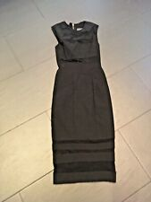 ASOS Black Mesh Sheer Fitted Midi Bodycon Cutout Dress Size 8 Party Evening Xmas