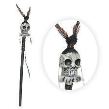 Big Witch Doctor Staff Skull Voodoo Shaman Feathers Beads Movie Fancy Dress Prop