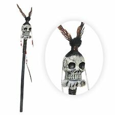 104cm Witch Doctor Staff Skull Voodoo Shaman Tribal Feathers Beads Cane Prop