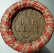 Indian Head Cent on the end of a 50-coin Mixed Indian / Wheat Roll 02z