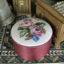 Dollhouse Embroidered Trunk Petit Point Vanity Chair Artisan Artist Jewelry Box