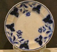 "ANTIQUE FLOW BLUE STRAWBERRY BRUSHSTROKE  9-5/8"" PLATE"