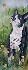 BOSTON TERRIER DOG NEW ORIGINAL OIL PAINTING CANVAS SANDRA COEN ARTIST ENGLAND
