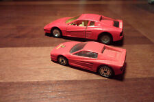 (2) Ferrari Testerossa 1/39 Scale MC Toy Friction Toy & 1/64 Red Hot Wheels