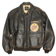 1990s Avirex A-2 WWII Tribute Bomber Jacket M Leather B29s Saipan Devils Delight