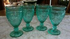 New listing Lot of 4 Vintage Style Pioneer Woman Adeline Teal Turquoise Goblets Glasses