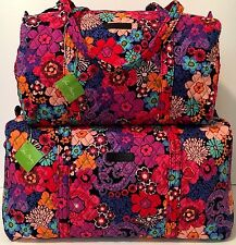 Vera Bradley FLORAL FIESTA LARGE & SMALL DUFFEL Bag Set Tote Weekender NWT