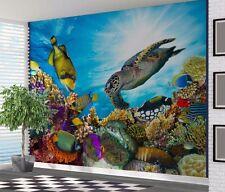Stunning underwater coral reef fish turtle wallpaper wall mural (44151192)