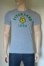 NUOVO ABERCROMBIE & FITCH CAMP Graphic Tee Vintage T-Shirt Grigio S