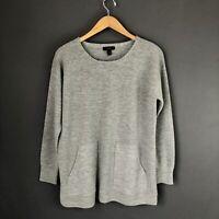 J. Crew Small Tunic Sweater Pullover Merino Wool Gray Pockets $110