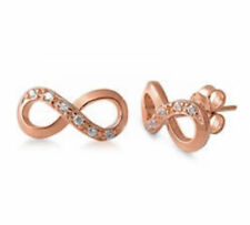 Sterling Silver Rose Gold Plated Infinity Stud Earrings, 11 mm