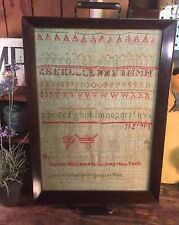 19th Century Early American Sampler Margaret Widdleton 1816 Alphabet Needlework