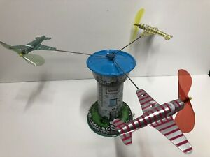 """Schylling Aerodrome Airport Control Power 6-1/2"""" Tall Mechanical Toy Airplanes"""