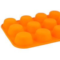 12 Cup Large Silicone Bun/Muffin Non Stick Tin Tray Baking Pudding Mold Orange