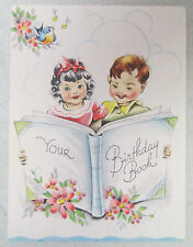 Vintage Birthday Greeting Card Your Big Book Boy Girl Blue Song Bird Sunshine
